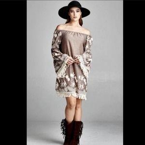 Indigo Soul Mocha & White Boho Off-Shoulder Dress